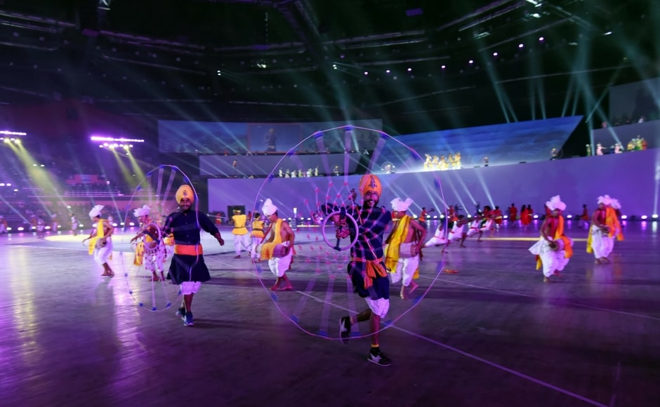 There was a cultural programme that celebrated the legend of Dronacharya and his ace student Arjuna, the two heroes who are commemorated by the National Sports Awards for Coaches and Athletes respectively. Image Courtesy: Agencies