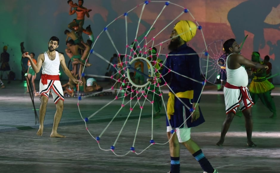 A spectacular show on India's ancient sports and successes in the international arena was also in focus. Image courtesy: Agencies