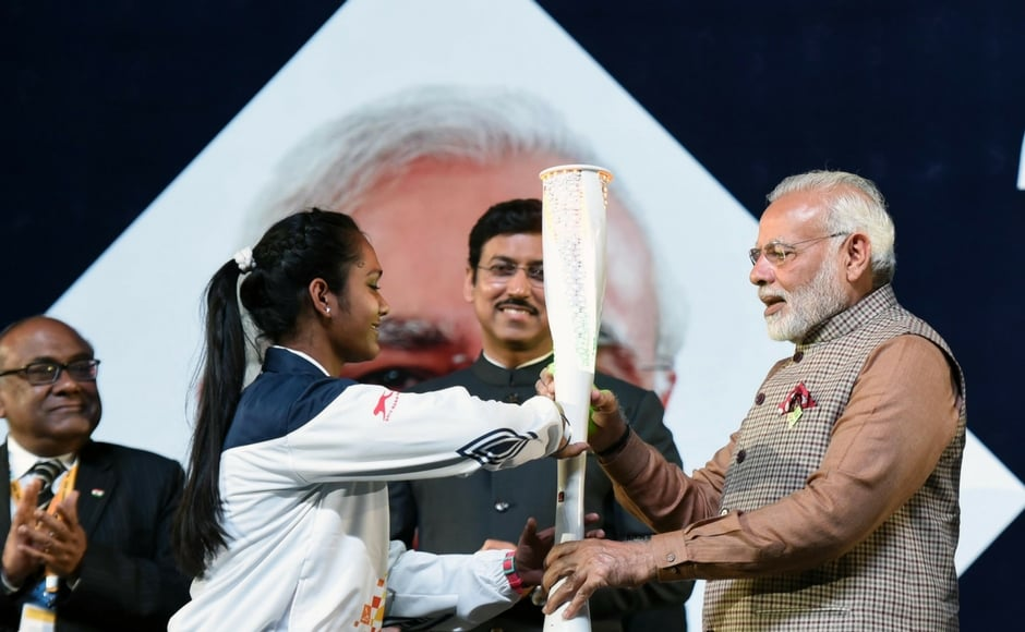 """Modi said, """"Sports should occupy a central place in the lives of our youth."""" He added """"Sports is an important means of personality development.""""<br />He exhorted youngsters to devote time to sport alongside their busy schedules. """"India does not lack sporting talent,"""" the Prime Minister asserted. """"We are a youthful nation and we can do even better in sports."""" Image courtesy: Agencies"""