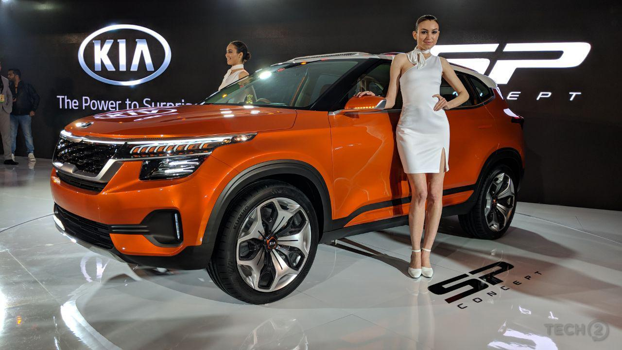 auto expo 2018 kia motors sp concept suv unveiled as automaker awaits launch in h2 2019. Black Bedroom Furniture Sets. Home Design Ideas