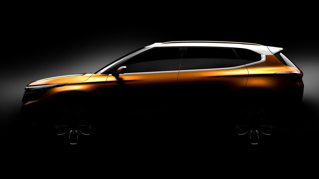 A side view of the Kia SP concept teased ahead of Auto Expo 2018.