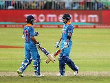 Virat Kohli and Ajinkya Rahane stitched a mammoth 189-run stand to help India defeat South Africa by six wickets in the first ODI. Image courtesy: Twitter @BCCI