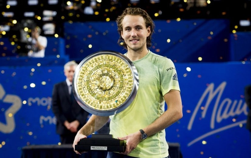Lucas Pouille poses with the Open Sud de France trophy after defeating Richard Gasquet. Image courtesy: Twitter/@OpenSuddeFrance