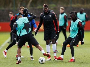 Manchester United's Paul Pogba and Eric Bailly during training ahead of the Champions League match. Reuters