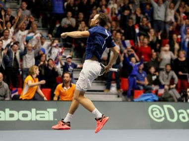 France's Adrian Mannarino celebrates after winning his match against Netherlands' Robin Haase. Reuters