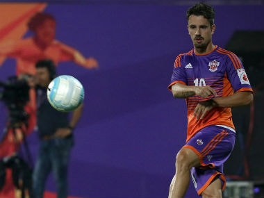 FC Pune City player Marcelinho involved in a training session. ISL