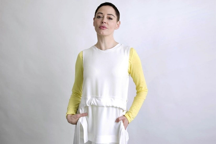 Rose McGowan poses for a portrait in New York on Wednesday, Jan. 31, 2018, to promote her book Brave. AP