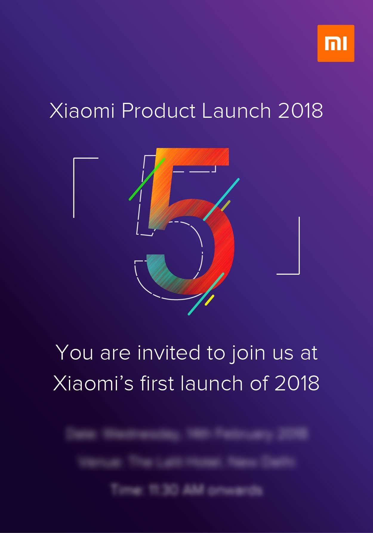 Invite for the Redmi 5/Redmi Note 5 launch
