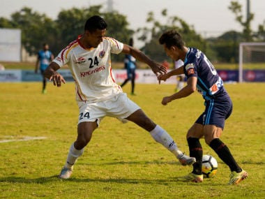 Minerva Punjab's Chencho Gyeltshen in action against East Bengal in their I-league match. I-League