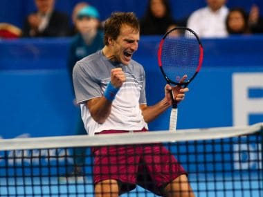 Mirza Basic celebrates after defeating Stan Wawrinka in the semi-final. Iage courtesy: Twitter/@SofiaOpen