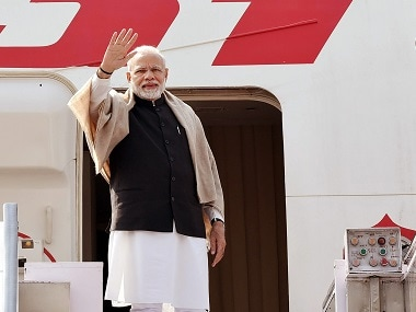 Narendra Modi arrives in Ramallah on historic visit to Palestine, to discuss ways of enhancing bilateral ties with Mahmoud Abbas