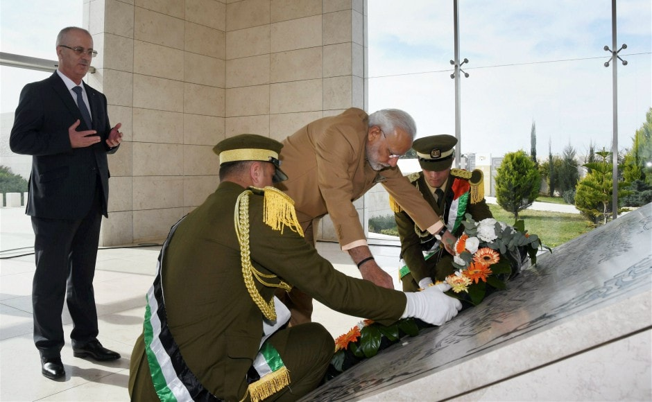 Modi began his engagement by laying a wreath at the mausoleum of iconic Palestinian leader Yasser Arafat. He was accompanied by his Palestinian counterpart Rami Hamdallah. PTI