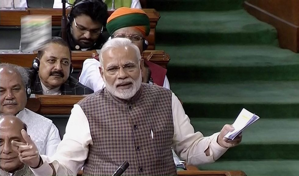 Modi started his address, which many termed a campaign speech, on a stormy note. He accused the Nehru-Gandhi family of being responsible for the woes of modern India.