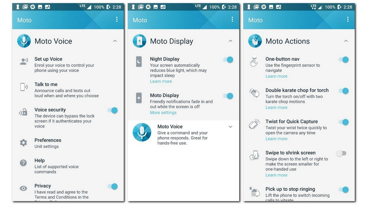 Moto assistant features