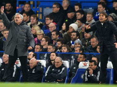 Manchester United manager Jose Mourino and Chelsea boss Antonio Conte on the touchline. AFP