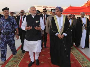 Prime Minister Narendra Modi arriving in Muscat, Oman. Twitter@MEAIndia