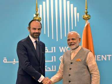 Prime Minister Narendra Modi meeting his French counterpart Edouard Philippe at the World Government Summit. Twitter@MEAIndia