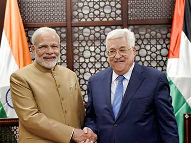 Prime Minister Narendra Modi being greeted by Palestinian president Mahmoud Abbas during their meeting in Ramallah. PTI