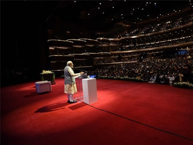 Prime Minister Narendra Modi addressing the Indian diaspora at the Dubai Opera House. Twitter @MEAIndia