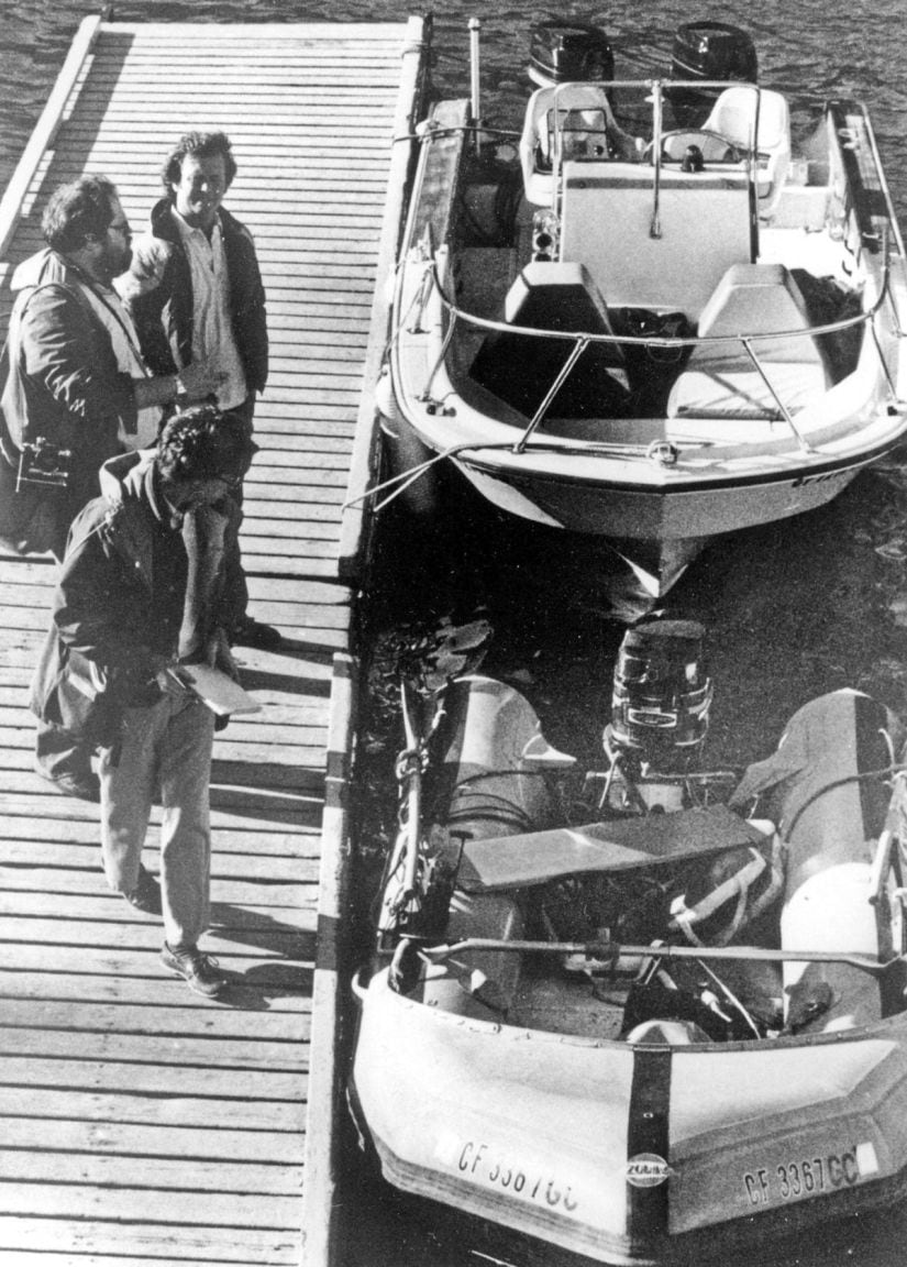 """This file photo shows the """"Prince Valiant,"""" the inflatable dinghy used by Natalie Wood, moored at the harbor in Avalon, Calif., after it washed up on the rocks on Santa Catalina Island. Patrolmen discovered the actress' body 200 yards off Blue Cavern Point on Catalina Island, 100 yards away from the boat after a seven hour search. AP"""