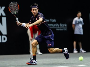Kei Nishikori in action during his first round match. Image courtesy: Twitter @NewYorkOpen