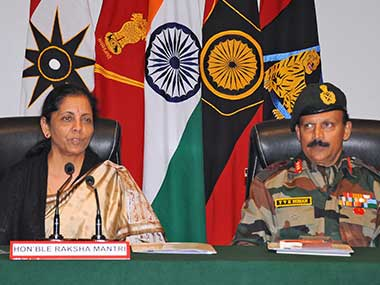 Union Defence Minister Nirmala Sitharaman addresses a press conference at Tiger Division Satwari in Jammu. PTI