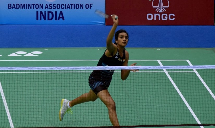 PV Sindhu in action at the Siri Fort Complex. India Open