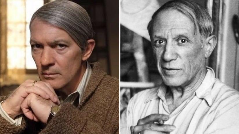 Antonio Banderas in Genius Picasso (left); Pablo Picasso (right). Facebook