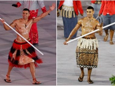 A combination photo shows Pita Taufatofua of Tonga carrying the national flag during the Pyeongchang Winter Olympics (left) and Rio 2016 opening ceremonies. REUTERS