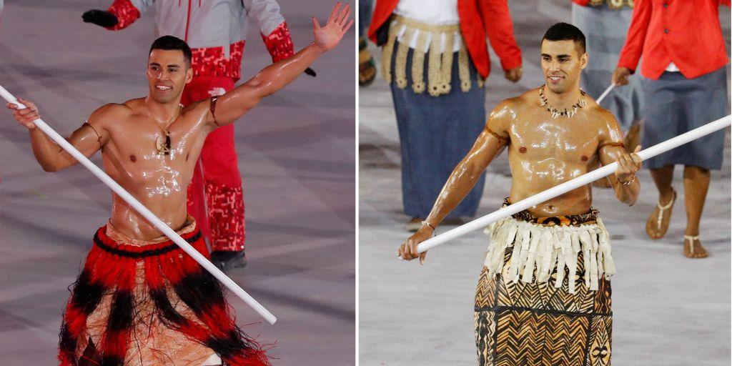 Tongas flag bearer, Pita Taufatofua, repeats his bare