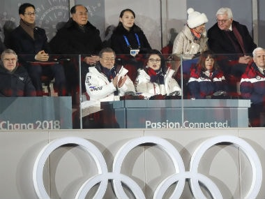 President Thomas Bach and President of South Korea Moon Jae-in, his wife Kim Jung-Sook, Kim Yo-Jong, the sister of North Koreas leader Kim Jong-un and German President Frank-Walter Steinmeier during the opening ceremony. Reuters