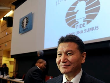 Kirsan Ilyumzhinov smiles after he was re-elected to head the World Chess Federation at the 41st Chess Olympiad in Tromsoe, Norway, August 11, 2014. Ilyumzhinov, a protegee of Vladimir Putin, who claims to have been abducted by aliens was easily re-elected to head the World Chess Federation on Monday, defeating one of the Russian president's harshest critics. REUTERS/Rune Stoltz Bertinussen/NTB Scanpix (NORWAY - Tags: SPORT CHESS) ATTENTION EDITORS - THIS IMAGE WAS PROVIDED BY A THIRD PARTY. THIS PICTURE WAS PROCESSED BY REUTERS TO ENHANCE QUALITY. AN UNPROCESSED VERSION WILL BE PROVIDED SEPARATELY. NORWAY OUT. NO COMMERCIAL OR EDITORIAL SALES IN NORWAY. NO COMMERCIAL SALES - GM1EA8B1TT301