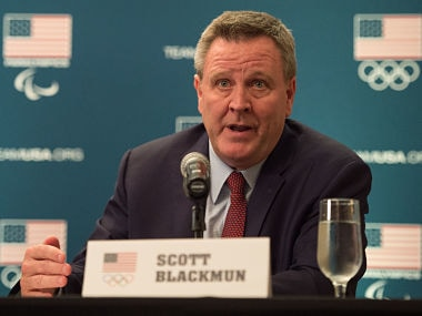 December 16, 2014; Redwood City, CA, USA; USOC chief executive officer Scott Blackmun addresses the media in a press conference following the USOC board of directors meeting at Hotel Sofitel San Francisco. Mandatory Credit: Kyle Terada-USA TODAY Sports - 8275327
