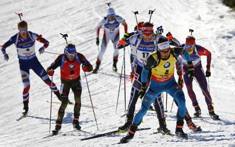 Martin Fourcade of France in action during the Men 15 km Mass Start at the Biathlon World Cup in 2017. Reuters