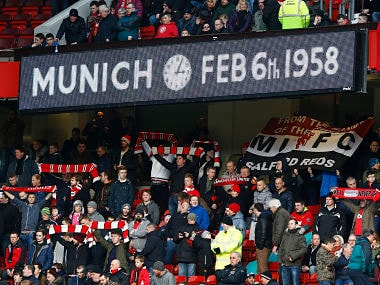 "A message is seen on the anniversary of the Munich Air Disaster at the game between Manchester United and Fulham before their English Premier League soccer match at Old Trafford in Manchester, northern England, February 9, 2014. REUTERS/Darren Staples (BRITAIN - Tags: SPORT SOCCER ANNIVERSARY DISASTER) NO USE WITH UNAUTHORIZED AUDIO, VIDEO, DATA, FIXTURE LISTS, CLUB/LEAGUE LOGOS OR ""LIVE"" SERVICES. ONLINE IN-MATCH USE LIMITED TO 45 IMAGES, NO VIDEO EMULATION. NO USE IN BETTING, GAMES OR SINGLE CLUB/LEAGUE/PLAYER PUBLICATIONS. FOR EDITORIAL USE ONLY. NOT FOR SALE FOR MARKETING OR ADVERTISING CAMPAIGNS - GM1EA2A008P01"
