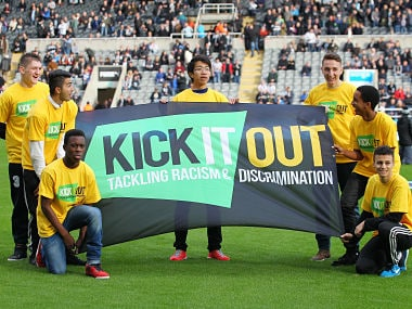 """Kick It Out anti racism campaign before the match Mandatory Credit: Action Images / Ed Sykes EDITORIAL USE ONLY. No use with unauthorized audio, video, data, fixture lists, club/league logos or """"live"""" services. Online in-match use limited to 45 images, no video emulation. No use in betting, games or single club/league/player publications. Please contact your account representative for further details. - MT1ACI12999042"""