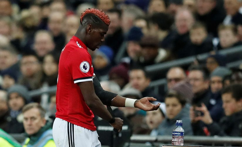 """Soccer Football - Premier League - Tottenham Hotspur vs Manchester United - Wembley Stadium, London, Britain - January 31, 2018 Manchester United's Paul Pogba looks dejected as he is substituted REUTERS/Eddie Keogh EDITORIAL USE ONLY. No use with unauthorized audio, video, data, fixture lists, club/league logos or """"live"""" services. Online in-match use limited to 75 images, no video emulation. No use in betting, games or single club/league/player publications. Please contact your account representative for further details. - RC1E56E23000"""