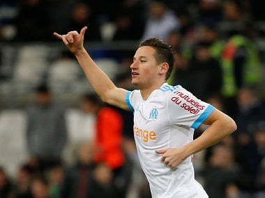 Soccer Football - Ligue 1 - Olympique de Marseille vs FC Metz - Orange Velodrome, Marseille, France - February 2, 2018 Marseille's Florian Thauvin celebrates scoring their second goal REUTERS/Jean-Paul Pelissier - RC1E9ED29D20