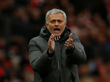 """Soccer Football - Premier League - Manchester United vs Huddersfield Town - Old Trafford, Manchester, Britain - February 3, 2018 Manchester United manager Jose Mourinho reacts Action Images via Reuters/Lee Smith EDITORIAL USE ONLY. No use with unauthorized audio, video, data, fixture lists, club/league logos or """"live"""" services. Online in-match use limited to 75 images, no video emulation. No use in betting, games or single club/league/player publications. Please contact your account representative for further details. - RC1ED3B4BB70"""