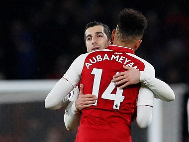 "Soccer Football - Premier League - Arsenal vs Everton - Emirates Stadium, London, Britain - February 3, 2018 Arsenal's Henrikh Mkhitaryan and Pierre-Emerick Aubameyang celebrate after the match REUTERS/David Klein EDITORIAL USE ONLY. No use with unauthorized audio, video, data, fixture lists, club/league logos or ""live"" services. Online in-match use limited to 75 images, no video emulation. No use in betting, games or single club/league/player publications. Please contact your account representative for further details. - RC1557E0C620"