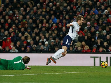 "Soccer Football - Premier League - Liverpool vs Tottenham Hotspur - Anfield, Liverpool, Britain - February 4, 2018 Liverpool's Loris Karius fouls Tottenham's Harry Kane for a penalty REUTERS/Andrew Yates EDITORIAL USE ONLY. No use with unauthorized audio, video, data, fixture lists, club/league logos or ""live"" services. Online in-match use limited to 75 images, no video emulation. No use in betting, games or single club/league/player publications. Please contact your account representative for further details. - RC1D48F996F0"