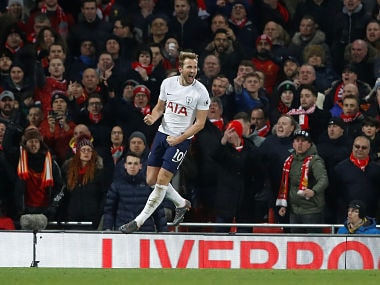 "Soccer Football - Premier League - Liverpool vs Tottenham Hotspur - Anfield, Liverpool, Britain - February 4, 2018 Tottenham's Harry Kane celebrates scoring their second goal Action Images via Reuters/Carl Recine EDITORIAL USE ONLY. No use with unauthorized audio, video, data, fixture lists, club/league logos or ""live"" services. Online in-match use limited to 75 images, no video emulation. No use in betting, games or single club/league/player publications. Please contact your account representative for further details. - RC1B0E80DF30"