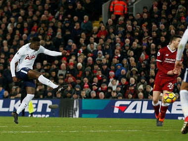 Tottenham's Victor Wanyama scores their first goal   against Liverpool. Reuters