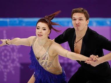 Figure Skating – Pyeongchang 2018 Winter Olympics – Team Event Ice Dance short dance – Gangneung Ice Arena - Gangneung, South Korea – February 11, 2018 - Ekaterina Bobrova and Dmitri Soloviev, Olympic athletes from Russia, compete. REUTERS/John Sibley - DEVEE2B07OM31
