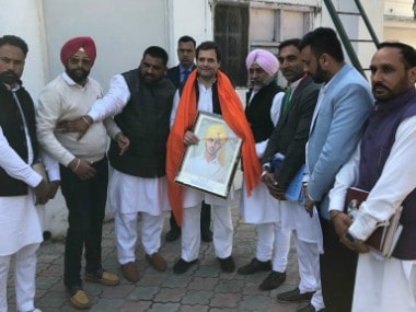 Rahul Gandhi meeting workers from various levels of the Congress party at AICC HQ on Wednesday. Firstpost/Debobrat Ghose