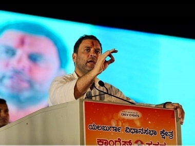 Congress president Rahul Gandhi addresses crowd in Karnataka. Twitter @INCIndia