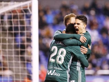 Rea Betis players celebrate after their first goal. Image courtesy: Twitter/@realbetis_en