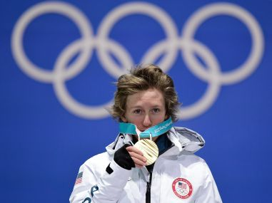 USA's gold medallist Redmond Gerard poses on the podium during the medal ceremony. AFP