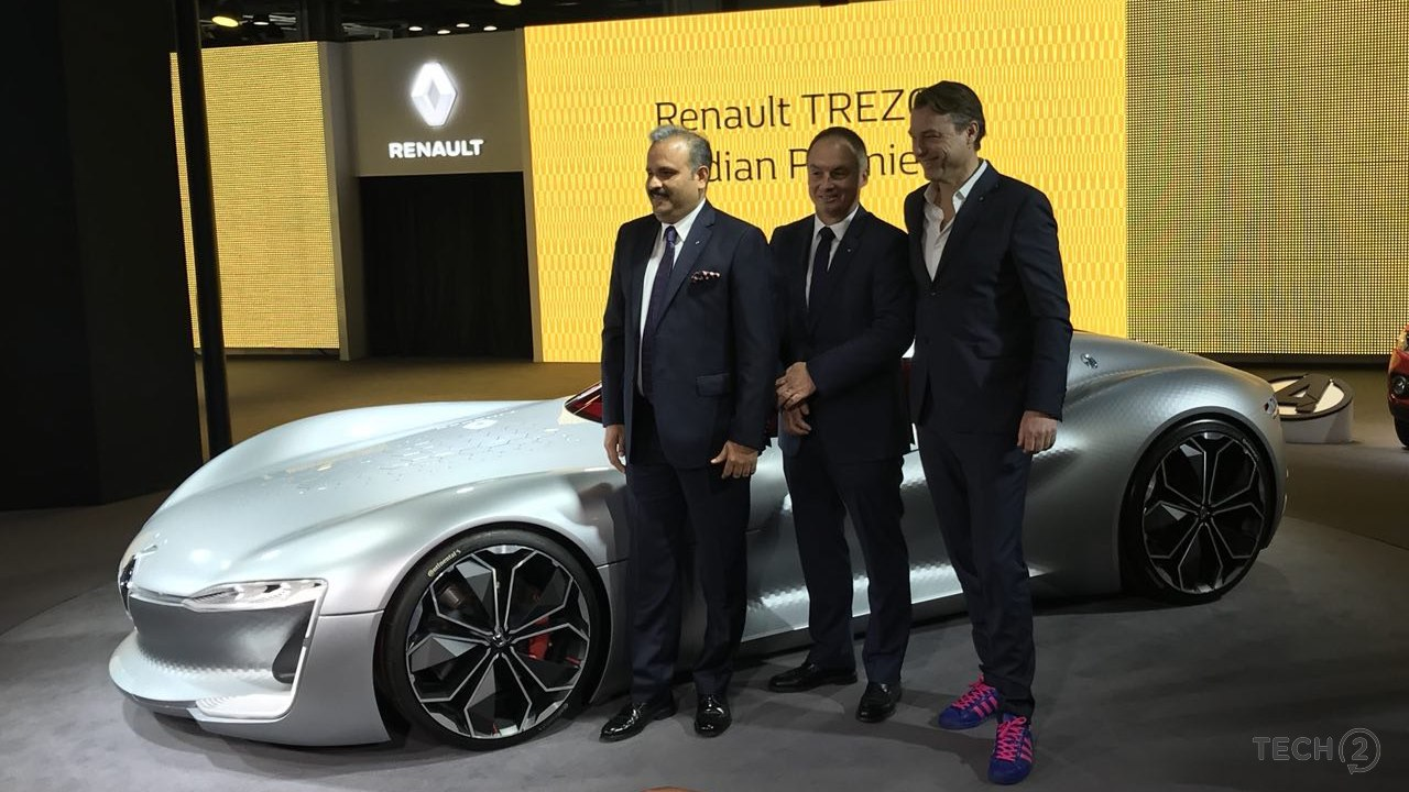 Renault team posing for the Renault Trezor at Auto Expo 2018.