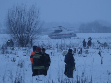 Emergency services work at the scene where a short-haul regional Antonov AN-148 plane crashed after taking off from Moscow's Domodedovo airport, outside Moscow, Russia February 11, 2018. REUTERS/Maxim Shemetov - UP1EE2B159LW5